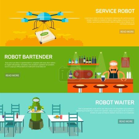 Robots  design concept set with service robot