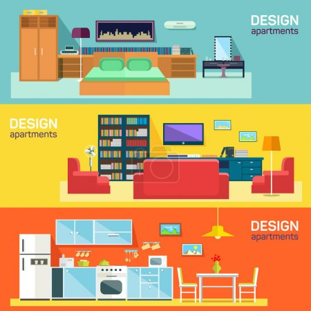 Home interior design for kitchen bed and sitting rooms