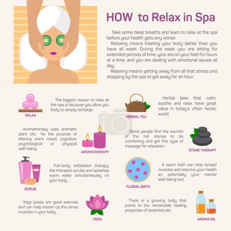 Illustration for Vector illustration relax in spa, flat modern design infographic - Royalty Free Image