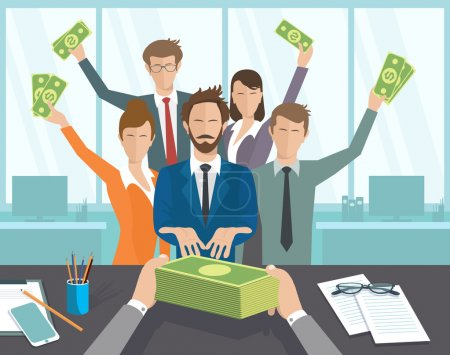 Illustration for Vector illustration, boss issues, groups of people pay. The office manager or workers receive a monthly salary - Royalty Free Image
