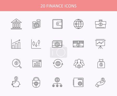 Illustration pour Ensemble d'icônes, d'outils de comptabilité bancaire, de transactions boursières mondiales et d'objets et d'éléments monétaires. Icônes de ligne mince plat style design moderne - image libre de droit