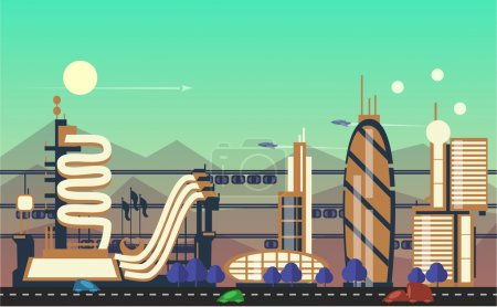 Illustration for Website hero images in flat design style for web development purposes. Busy urban cityscape templates with modern buildings, roads, futuristic traffic and park trees - Royalty Free Image