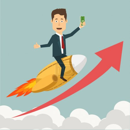 Vector flat illustration of a businessman flying on jet rocket