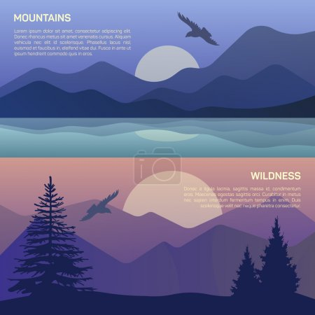 Illustration for Vector illustration of landscape in north areas, evening dusk with pine trees on the rocks.  Scenic view of meadow with nature pine, firtree, coniferous trees, sky, mountains and sun - Royalty Free Image
