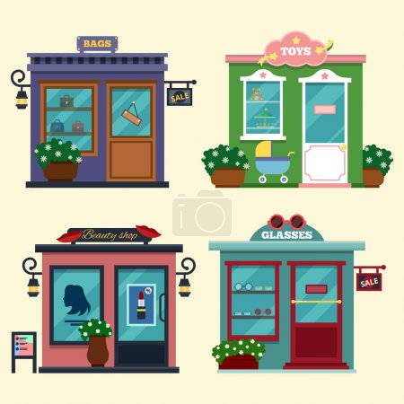 Vector illustration of buildings that are shops for buying presents. Set of nice flat shops. Different Showcases - selling bags, toys for presents, beauty shop, glasses. Discount sales.