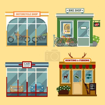 Vector flat illustration of buildings that are shops that are selling  motorcycles, bikes with discount, cars, accessories for hunting and fishing. Different Showcases.