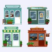 Vector flat illustration of buildings that are shops that are selling electronics notebook tablet smartphone and has a discount crockery with cups plumbing with water-tap and a blob furniture