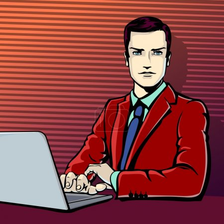 Vector illustration of successful businessman with computer in pop art comics retro style or cartoon style casting shadow, Halftone. Conception of interruption, attention, working, analyzing.