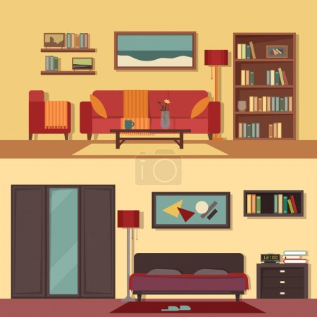 Illustration for Vector flat illustration banners set abstract isolated for rooms of apartment, house. Home interior design. Parlor, parlour, salon and bedroom modern decoration with paintings, books on the shelves - Royalty Free Image