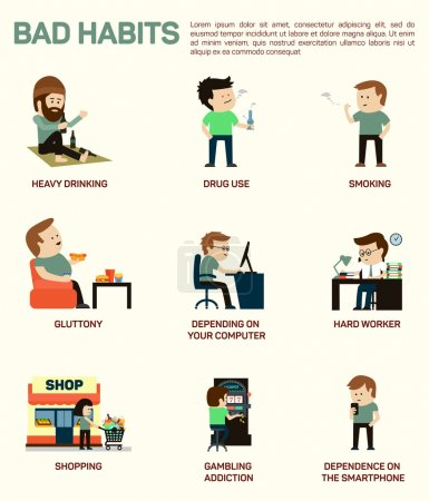 Vector flat illustration infographic of popular bad habits. Alcohol drinking, drug usage, smoking, gluttony with obesity, dependence of computer, smartphone, working hard, shopping, gambling