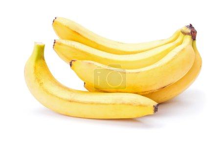 Foto de Racimo de bananos maduros sobre fondo blanco - Imagen libre de derechos