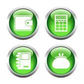 Sada barevných tlačítek pro web, peněženku, kabelku, zápisník, speciálně