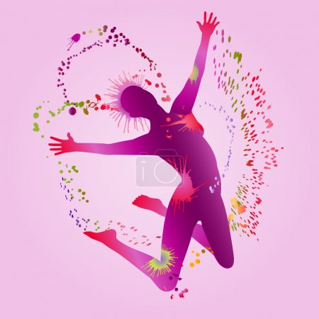 Illustration for Silhouette jumping joyful woman. Surrounded by a rainbow spray. EPS10 vector. - Royalty Free Image