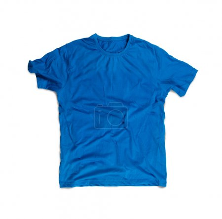 Photo for Blue Blank T-shirt for Mockup Isolated on White - Royalty Free Image