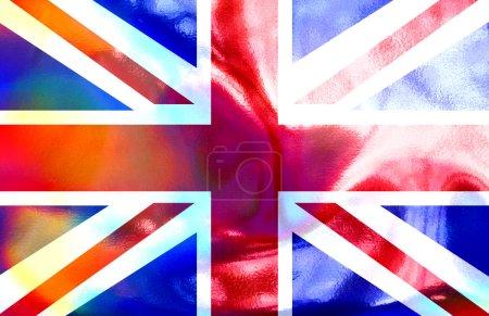 Photo pour Une illustration du drapeau Union Jack holographique. - image libre de droit