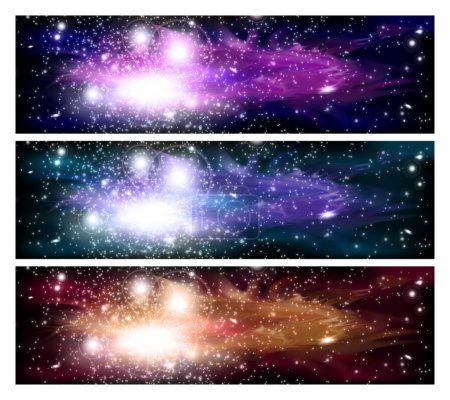 Illustration for An outer space banners with sky and stars. - Royalty Free Image