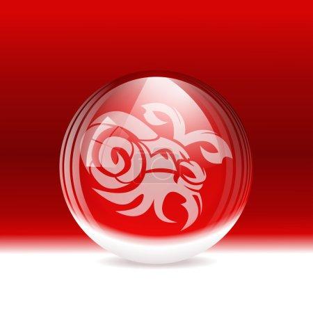 Illustration pour Illustration vectorielle d'un globe de neige transparent avec un signe du zodiaque Capricorne. Comprend des objets transparents et des masques d'opacité. Calque . - image libre de droit