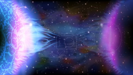 Illustration for An outer space background with a burning planet and stars. Layered. - Royalty Free Image