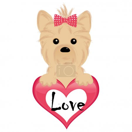 Cute puppy of yorkshire terrier hang the heart