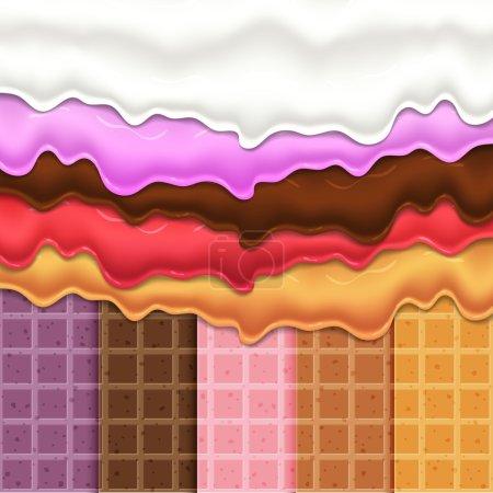 Illustration pour Flux glaçure sur gaufrettes texture aliments sucrés vecteur fond abstrait. Faire fondre la crème glacée glacée sur un motif gaufre sans couture. Modifiable - Changement facile des couleurs . - image libre de droit