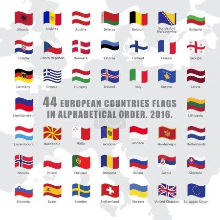 Illustration pour Ensemble de boutons vagues avec drapeaux des pays européens - image libre de droit
