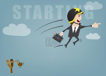 Illustration pour Homme d'affaires démarrage succès vecteur illustration - image libre de droit