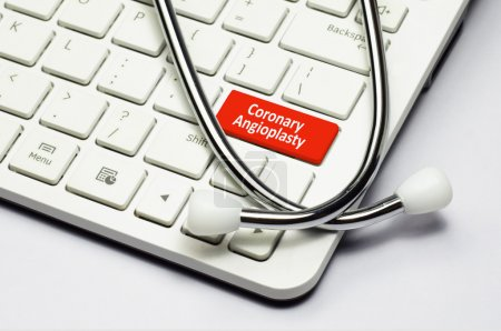 Keyboard, Coronary Angioplasty text and Stethoscope