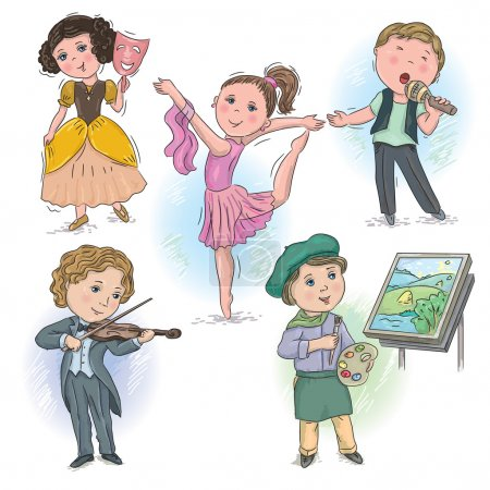 Photo for Set of pictures with children in creative professions - Royalty Free Image