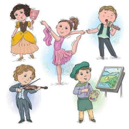Illustration pour Ensemble de photos avec des enfants dans des professions créatives - image libre de droit