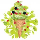 Ice cream pistachio with kiwi