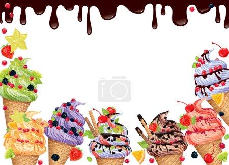 Illustration pour Fond avec crème glacée et chocolat - image libre de droit