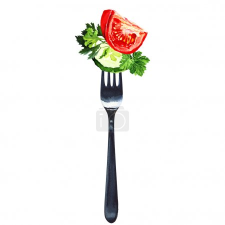 Foto de Fork with salad from vegetables isolated, watercolor painting on white background - Imagen libre de derechos