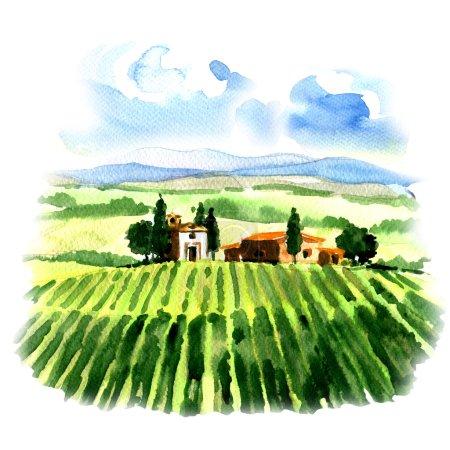 Paisaje rural con campos viñedo y casa de campo