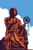 Monument memorial of astronomer Nicolaus Copernicus Warsaw Poland vector illustration