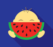 Small boy eating slice of watermelon in vector