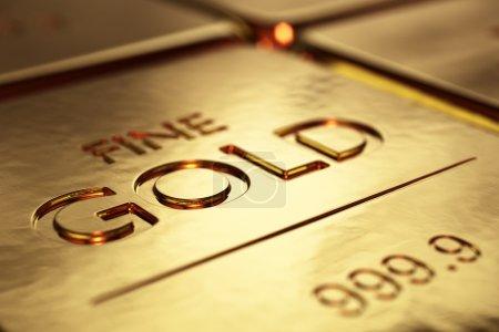Foto de Primer plano de lingotes de oro con dof superficial (ilustraciones 3d) - Imagen libre de derechos