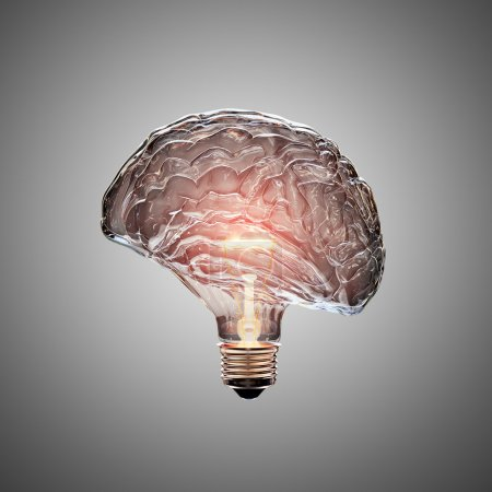 Glowing Light Bulb with the glass shaped as a Brai...