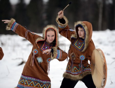 Dancers perform the dance of the peoples of the North for the new year holiday.