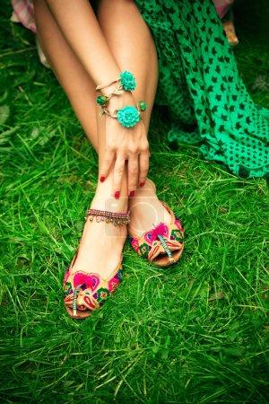 flat boho summer female leather  slippers