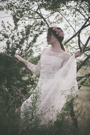 woman in white lacy dress