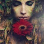 Fantasy beautiful woman portrait with flower, comp...