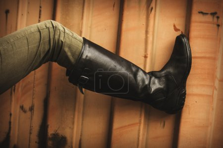 leather high boots