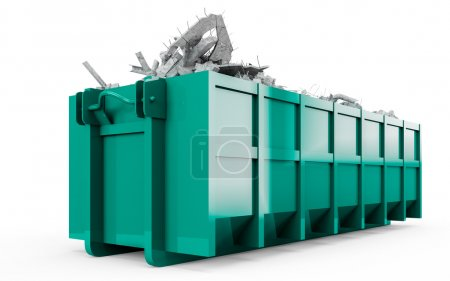 Medium Spring Green Cyan rubble container perspective front view