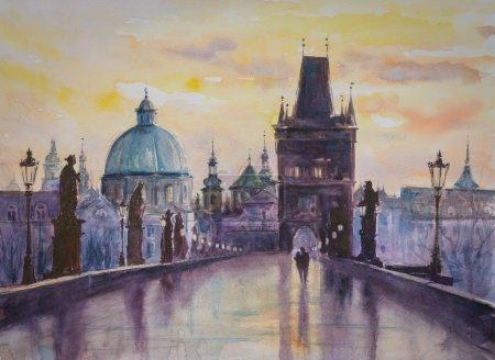Prague watercolors painted
