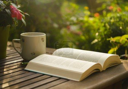 Photo pour Tasse de thé et livre ouvert sur table en bois dans le jardin . - image libre de droit