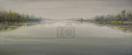 Photo pour Paysage d'automne avec rivière dans le brouillard peint à l'huile sur toile . - image libre de droit