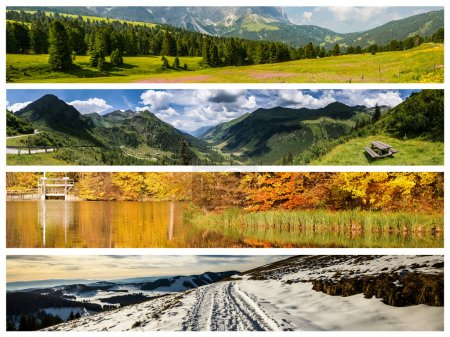 Photo for Set of the four seasons landscape for banners - Royalty Free Image