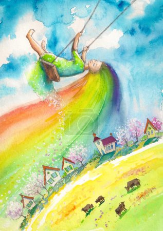 Photo for Spring with rainbow hair swinging above village.Picture created with watercolors. - Royalty Free Image