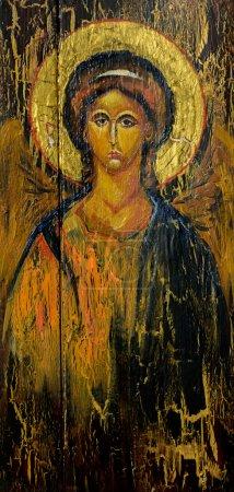 Photo pour Tableau peint à la main de l'archange Michel sur l'ancienne icône orthodoxe . - image libre de droit