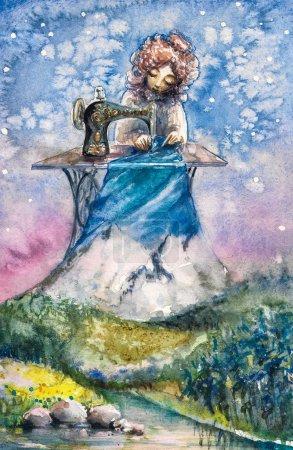Photo pour Mme Nature comme couturière travaillant avec son nouveau textile.Photo créée avec des aquarelles . - image libre de droit